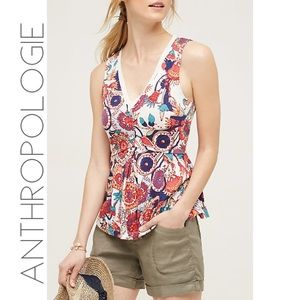 Anthropologie Deletta floral ruffle peplum  top M
